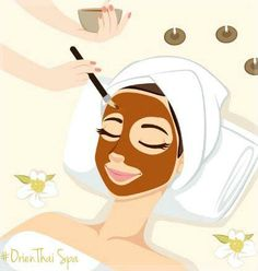 Illustration of Woman having chocolate mask treatment therapy lying down on massage bed with flowers and perfumed candles vector art, clipart and stock vectors. Spa Facial, Skin Care Spa, Face Skin Care, Beauty Care, Beauty Skin, Beauty Hacks, Mascara Hacks, Beauty Salon Logo, Skin Treatments