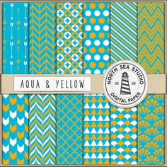 Aqua Blue And Yellow Digital Paper Pack by NorthSeaStudio on Etsy