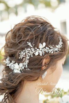 小枝アクセサリー silver/gold ~ブライダルヘッドドレス~ ≪HV-08≫ | DisMoi ディモア| ブライダルアクセサリー / ウェディングアクセサリー Bridal Accessories, Crown, Beads, Fashion, O Beads, Moda, Corona, Fashion Styles, Bead
