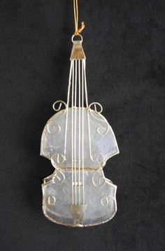 Violin Christmas Ornament, 3D Sculpted Wire and Capiz Shell Holiday Tree Trim, Translucent Glass, Gift for Musician, Stringed Instrument by CactusWrenVintage on Etsy