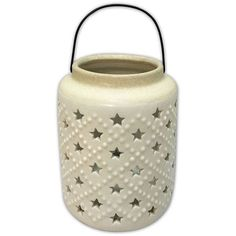 Celebrate Americana Together White Star Ceramic Lantern ($25) ❤ liked on Polyvore featuring home, home decor, candles & candleholders, white, ceramic home decor, americana home decor, white home decor, white pillar candles and white lantern