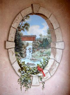 Pine Street Studios > Primitive Bath: Oval Stone Window