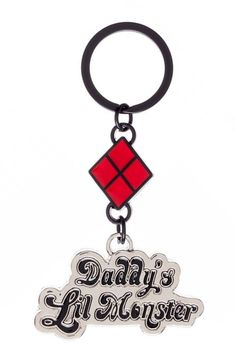 Suicide Squad Daddy's Little Monster Harley Quinn Keychain New
