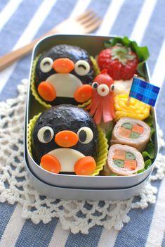 penguin onigiri bento