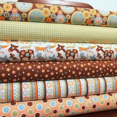 Bright Nursery Cotton Fabric, Mod Tod By Sheri Berry for Riley Blake, Fat Bundle, 6 Prints, 6 Fat Quarters Total