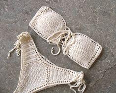 Strapless crochet bikini Crochet bikini set Bandeau bikini