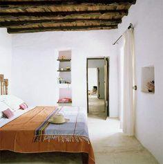 natural wood beamed ceilings in boho bedroom. / sfgirlbybay