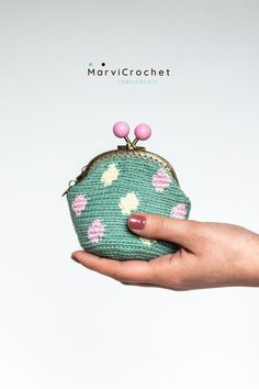 Crochet coin purse, Coin purse with polka-dot. Kiss lock frame. Gift for her In this beautiful with polka-dots coin purse green you can keep your keys, coins, bills, lipstick and your cards. Designed for women of any age who like to surround themselves with beautiful and cheerful, things. It will be the ideal gift for a friend birthday or any other occasion. #marvicrochet #coinpurse #green #crochetcoinpurse #polkadots #giftforher #madeinspain Crochet Wallet, Crochet Coin Purse, Crochet Bags, Gifts For Women, Gifts For Her, Crochet Designs, Crochet Ideas, Glasses Case, Friend Birthday