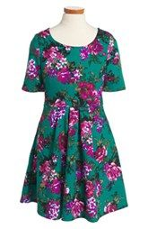 Trixxi Floral Print Skater Dress (Big Girls)