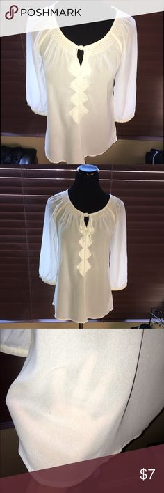 Sheer Peasant top w/ Aztec embroidery:Great cond🌺 Falls below waist- Loose fit. Perfect w/ tank or cami underneath. NO FLAWS. 🌺 Old Navy Tops Blouses