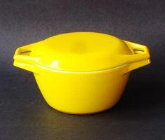 Michael Lax Copco Denmark - Yellow Enamelware Casserole, Yellow Copco Casserole, Mid Century Modern Cookware, Danish Modern Decor, MCM Decor on Etsy, $51.52
