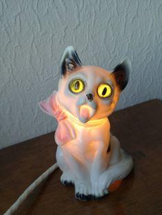 Items similar to Rare Mid Century Lamp Surprised Cat Belgian Ceramic Night Lamp with Glass Eyes Porcelain Lamp on Etsy Porcelain Dolls Value, Night Lamps, Etsy Vintage, Cat Lovers, Mid Century, Etsy Shop, Ceramics, Handmade Gifts, Eyes