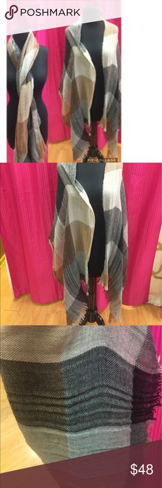 Kuna 100% baby alpaca plaid wrap/scarf Similar to Barney's New York. Made in Peru. Can be used as either a wrap or larger scarf! So pretty and soft! Barneys New York Accessories Scarves & Wraps