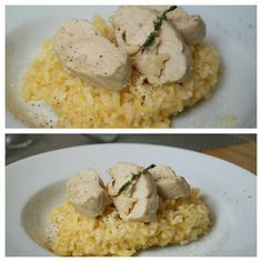 Risotto mit Thymian-Zitronen-Hühnchen Risotto, Grains, Rice, Ethnic Recipes, Food, Meals, Laughter, Jim Rice, Korn
