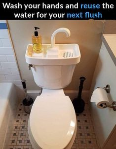 Sink Twice saves water, space, and money with only a 5 minute self installation! Please verify toilet tank size is less than wide Toilet Sink, New Toilet, Sink Toilet Combo, Camper Awnings, Popup Camper, Dual Flush Toilet, Water Efficiency, Camping Stove, Camping Tools