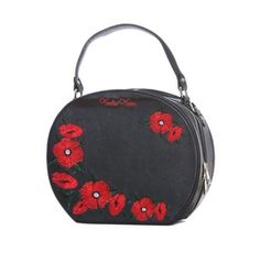 Voodoo Vixen Embroidered Poppies Retro Round Handbag