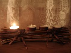 adventi koszorú gallyakból Tea Lights, Wall Lights, Advent, Candles, Home Decor, Appliques, Decoration Home, Room Decor, Tea Light Candles