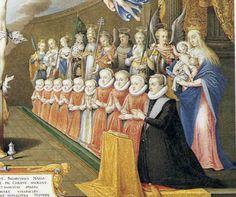 Maria Anna of Bavaria (1551-1608) with her daughters: Anna (1573-1598), Maria Christina (1574-1621), Katharina Renate (1576-1599), Elisabeth (1577-1586), Gregoria Maximiliana (1581-1597), Eleonore (1582-1620), Margarete (1584-1611), Konstanze Renate (1588-1631) and Maria Magdalena (1589-1631).