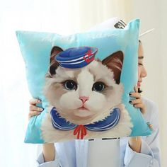3D cat throw pillows for couch navy style blue sofa cushions