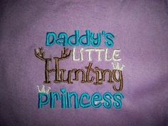 Purple Baby Girl Daddy's Little Hunting Princess Purple with Blue, White & Brown Bib- Perfect for the Little Hunter - Baby Girl Hunting Bib