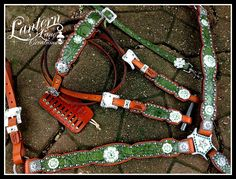 Custom order tack set /peridot and emerald crystals