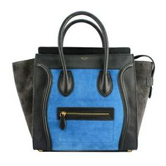 4de69e35f9d4 Celine Mini Luggage in Black Smooth Calf Leather and Brown Blue Suede Celine  Bag Luggage
