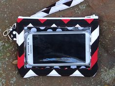 Cell phone Wallet Black Red White Chevron by StitchingInTheTrees, $30.00