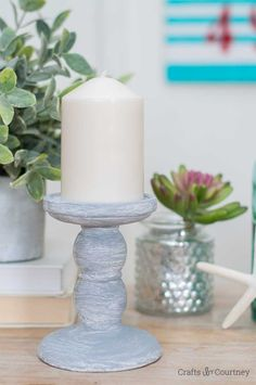 I found these great pedestal candle holders at the Dollar Tree last month. I knew right away what I wanted to do with them using the Vintage Effect Wash a candle holder makeover!