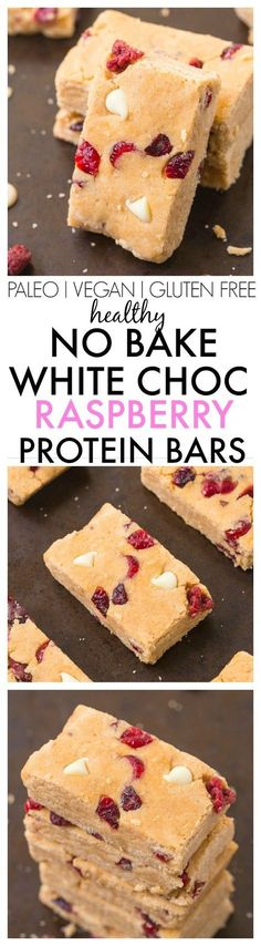 Healthy No Bake White Chocolate Raspberry Protein Bars- Easy, delicious and so much healthier than store bought- These taste like dessert bars! {vegan, gluten free, paleo recipe}- | Posted By: DebbieNet.com