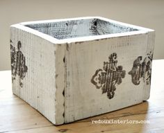 Create a wood box from old fence boards and Stencil using CeCe Caldwell's 100% Natural Stain + Finish.  How To Video Included in link!   REDOUXINTERIORS.COM  FACEBOOK: REDOUX INSTAGRAM: @REDOUXINTERIORS