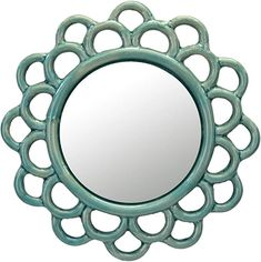 AmazonSmile: Stonebriar Turquoise Decorative Round Cutout Ceramic Wall Hanging Mirror: Home & Kitchen Glass Ceramic, Ceramic Decor, Wall Mounted Mirror, Wall Mirror, Elegant Home Decor, Mirror With Lights, Round Mirrors, Cool Walls, Vintage Ceramic