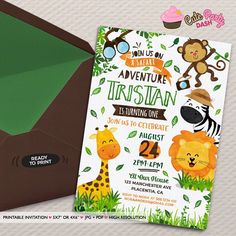 Safari Birthday invitation Jungle animals DIY printable Safari