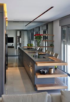stunning modern dream kitchen design ideas and decor 11 < Home Design Ideas Kitchen Room Design, Luxury Kitchen Design, Kitchen Cabinet Design, Home Decor Kitchen, Interior Design Kitchen, Home Design, Design Ideas, Beautiful Kitchen Designs, Beautiful Kitchens