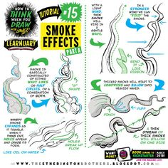 "etheringtonbrothers: ""This week's tutorial request came via email from Ragna Pallavi, who asked for some tips on how to draw SMOKE EFFECTS, here's part one, part two coming up SOON! If you want MORE, click these links for tutorials covering how to. Drawing Techniques, Drawing Tips, Drawing Reference, Photoshop For Photographers, Photoshop Photography, Smoke Drawing, Comic Tutorial, Background Drawing, You Draw"