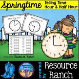 Time Task Cards with recording sheet and answer key - spring or summer flower theme