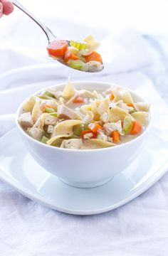 A healthy and delicious lightened up version of creamy chicken noodle soup!