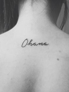 #ohana #lilo and stitch #tattoo #black and white #neck tattoo #back tattoo #family tattoo