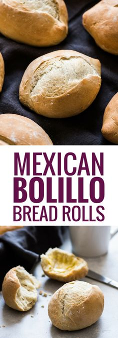 These Authentic Mexican Bolillo Bread Rolls are made with simple ingredients and easy to make. Enjoy them as a side dinner roll or as a Mexican torta! via Brötchen (Bread Rolls) Bolillo Bread Rolls Mexican Pastries, Mexican Sweet Breads, Mexican Dishes, Authentic Mexican Recipes, Mexican Food Recipes, Dinner Recipes, Mexican Torta Bread Recipe, Mexican Rolls Recipe, Gastronomia