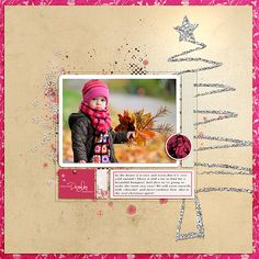 Scrapbook page layout...So pretty...love the glittery Christmas tree background