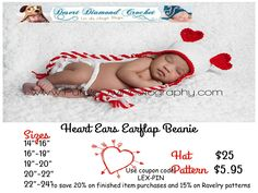 Heart Earflap Hat to stay warm and look adorable on Valentine's Day!  http://www.ddcrochet.com/product-catalog.php#!/Heart-Ears-Earflap-Beanie/p/10073679/category=2347790 http://www.ravelry.com/patterns/library/011---heart-ears-earflap-beanie  #crochet #crochetdesigner #desertdiamondcrochet #heartears #earflapbeanie #earflap #beanie
