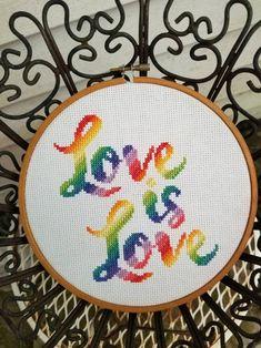 Pride cross stitch love is love LGBT rainbow gay lesbian Cross Stitch Hoop, Cross Stitch Quotes, Cross Stitch Tree, Cross Stitch Letters, Cross Stitch Bookmarks, Mini Cross Stitch, Modern Cross Stitch, Cross Stitch Alphabet Patterns, Stitch Patterns