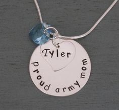 Proud Army Mom Necklace, Army Mom, Army Wife, Military Mom Necklace, Military Wife Necklace, Personalized Sterling Silver Pendant on Etsy, $49.95
