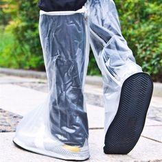 Men Women 1 Pair Rain Shoes Cover Waterproof High Boots Flats Slip-resistant Overshoes Rain Gear