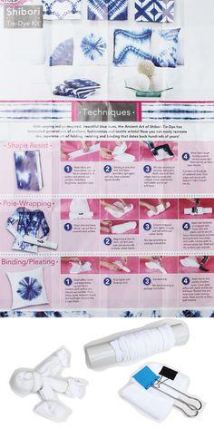 Easy Shibori Tie-Dye Techniques – Do it YourSelf Interior Design Tie Dye Folding Techniques, Tie Dying Techniques, Shibori Techniques, Bleach Tie Dye, Tye Dye, How To Tie Dye, How To Dye Fabric, Diy Tie Dye Shirts, Tie Dye Party