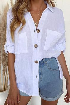 White Tops Polyester Turndown Collar Casual Buttons Long Sleeves Blouse For Women Shirts & Tops, Casual Shirts, Collar Shirts, Shirt Blouses, Collared Shirt Outfits, Short Outfits, Casual Outfits, Short Branco, Look Con Short