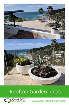 Quatro Design has provided bowls, pots and planters for iconic rooftop garden installations to facilitate the introduction of greenery in new developments. Garden Leave, Rooftop Gardens, Greenery, Planter Pots, Leaves, Balcony, Bowls, Garden Ideas, Design