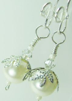 SALE Sterling Silver Swarovski Pearl and Crystal by BohemianIce, $14.00