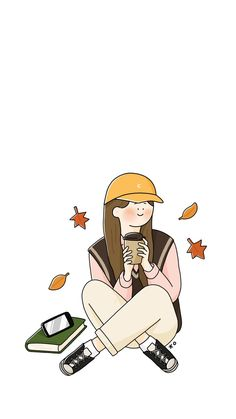 Autumn Coming : 네이버 블로그 Drawing Cartoon Faces, Girl Face Drawing, Cartoon Art, Phone Wallpaper Pastel, Cute Wallpaper For Phone, Girl Drawing Pictures, Relaxing Art, Composition Art, Little Doodles
