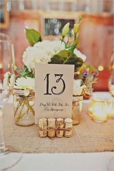 Have fun with your centrepieces with these creative ways to display your wedding table numbers...