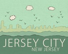 Jersey City, New Jersey // Travel City Skyline Illustration Typographic Print, Art Poster Print, Digital, Jersey Shore, Ocean, Beach Art